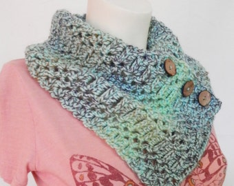 Blue Green Scarf with Coconut buttons crochet Neck Warmer soft yarn Cowl Wrap button up, ready to ship