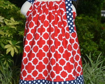4th of July Toddler Outfit, Girls 4th of July Pillowcase Dress, quatrefoil dress, patriotic dress, red white and blue patriotic baby outfit