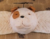 English Bulldog Angel, OOAK, handmade paper mache, Bulldog Angel Wall Art