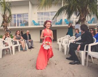 Girls Long Aline Convertible Twirl Dress- Choose Any fabric in stock~ Junior Bridesmaids, Flower girl, etc.