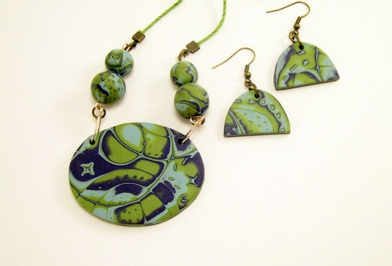 Unique Art Statement Clay Jewelry Set, Necklace and Earring Set, Aqua Green and Blue,Cruise Jewelry,Affordable Handmade Polymer Clay Jewelry