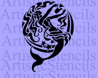 STENCIL Victorian Mermaid  10x7.3