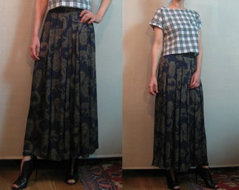 HERMAN GEIST PLEATED 80s vtg Paisley Navy Blue Jade Green High Waist Rayon Maxi Skirt w/ Pockets Small s/m 1980s