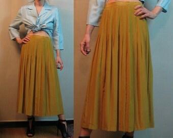 80s OLD GOLD SILK vtg Pure Silk Pleated High Waist Golden Dark Yellow Midi Skirt s/m Medium 1980s