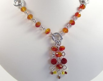 Red and Yellow Necklace, Czech Glass Necklace, Glass Jewelry, Rhubarb and Custard