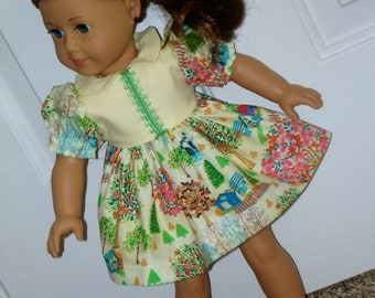 SALE - 18 Inch Doll Short Gathered Sleeve Yellow Print Dress and Matching Panties by SEWSWEETDAISY