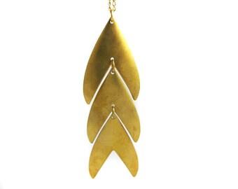 Fishtail Chevron Brass Pendant Necklace
