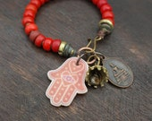 Vintage Red Padre Beads - Stacking Bracelet - Buddha Charm and Bell