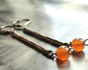 LAST CALL SALE Earrings, Jewelry, Dangle Earrings, Statement Earrings, Brass Bar Earrings, Gift for Her, Accessories, Glass Dangle Earrings