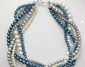 Navy blue grey white ivory pearl statement chunky braided twisted necklace