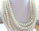 Custom order pearl necklaces layered twisted chunky statement pearl necklace