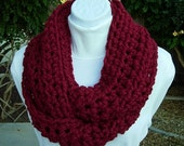 COWL SCARF Infinity Loop, Cranberry Dark Solid Red, Bulky Soft Wool Crochet Knit Winter Endless Circle, Neck Warmer..Ready to Ship in 2 Days