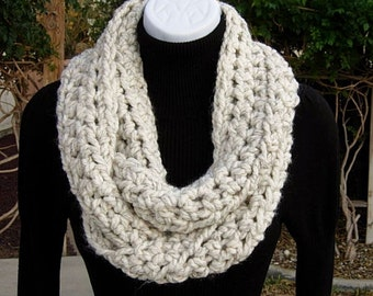 INFINITY SCARF Cowl Loop, Off White Wheat with Black, Thick Soft Wool Blend Crochet Knit Winter Endless Circle Wrap..Ready to Ship in 2 Days
