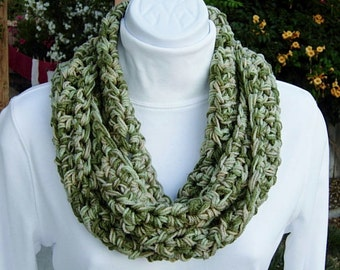 INFINITY SCARF, Camo Winter Cowl, Lightweight Loop Cowl, Small Camouflage Scarf, Light & Dark Green Beige Cream Crochet Knit ..Ready to Ship