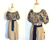 Vintage 80s Dress - sundress - off the shoulder - midi - vacation dress - khaki - cotton dress - medium