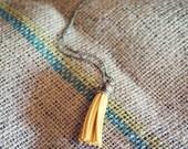 Pink Lemonade Medium Mustard Yellow Antique Brass Tassel Charm Necklace