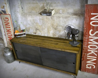 Reclaimed Wood and Recycled Steel Credenza