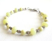 Yellow Citrine Bracelet, Creamy Yellow and Opaque Gemstone Beads, Gunmetal Beads, Scrolled Toggle Clasp, Costume Jewelry, Feminine Bracelet