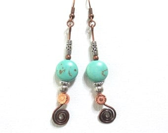 Copper Turquoise Earrings, Boho Copper Spirals, Turquoise Magnesite Coin Beads, Long Dangle Earrings, Hammered Copper and Silver