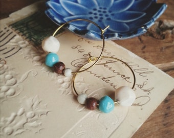 Beaded Hoop Earrings, Vintage Beads in Earth Tones of Blue, Stone, and Wood, Bohemian Jewelry for Women, One Inch Hoop Earrings