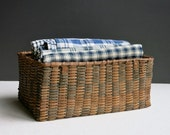 Antique Splint Basket - Northeast Native American Polychrome Painted Storage Basket - American Folk Art Americana Country Decor