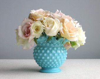 Turquoise Pastel Hobnail Milk Glass Vase by Fenton - Blue Medium American Vase
