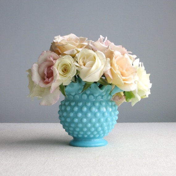 Turquoise Pastel Hobnail Milk Glass Vase by Fenton - Blue Medium American Vase