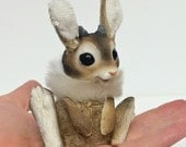 Jackabunny rabbit miniature ornament plushie art doll cute brown jackalope baby