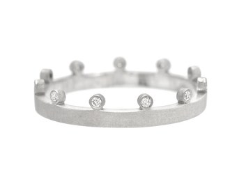 Diamond Wedding Band, Wedding Band, Crown Ring, Diamond Crown Ring, Diamond Ring, Diamond Band, Eternity Band, April Birthstone, Nixin