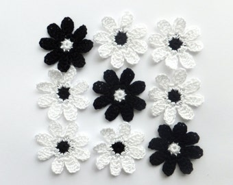Classic flower appliques - black flower embellishments - black and white wedding decorations - cotton flowers - set of 9  ~1.8 inches