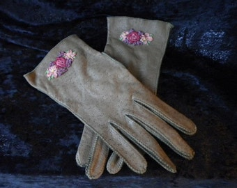 Taupe Leather Gloves with Fabulous Ribbonwork at cuff (FFs1118)