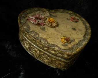 x Antique Ribbonwork Metal Heart Treasure Box with Bullion metallic trim and lace (FF062115-10)