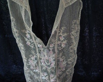 Vintage Ecru Lace Embroidered Lady's Collar (FFs1105)