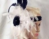 Handmade Black Sequin + White Headband w/ Black Coque Feathers Sequin Applique