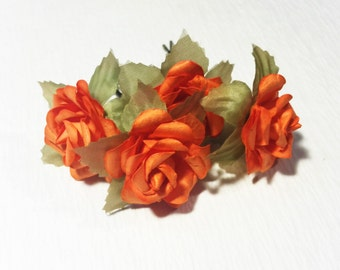 Orange Rose, Bohemian Wedding Hair Accessories, Bridal Hair Accessory, Orange Hair Flower, Bobby Pins, Set of 4