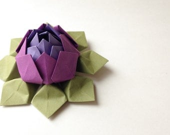 Origami Paper Flowers handmade lotus flowers in purple, grape and moss