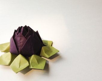 Paper Flower - Origami Lotus Flower -  Eggplant Purple and Moss Green - First Anniversary, Birthday, Congratulations, can ship directly
