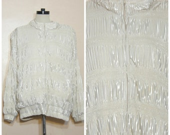 80s 90s Shiny Quilted Lamé Track Jacket Off White Silver Metallic Medium Large Oversize