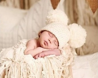 Baby Pom Pom Hat, Crochet Double Pom Pom Hat, Newborn Pom Pom Hat, Choose Any Color, Newborn Photography Prop