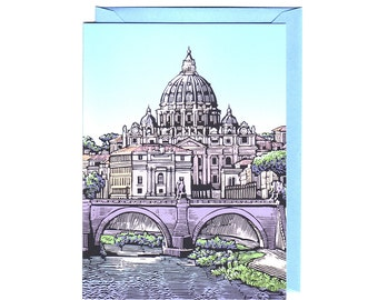 """Set of 5 """"Vatican in Rome"""" Cards with matching Envelopes"""