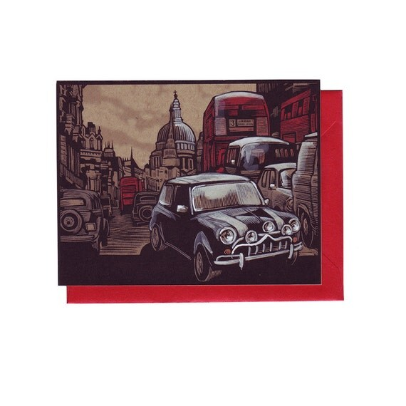 Mini Cooper in London Hand Painted Card with Envelope
