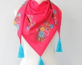 Floral scarf tassel scarf pink cotton scarf organic fabric shawl scarf trending boho fashion scarves for women unique gift ideas for her