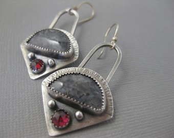 Norwegian Moonstone and faceted Garnet sterling silver earrings