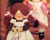 """Vintage Sewing Pattern Stuffed Dressed 23-1/2""""  Doll 1980's Old Fashioned Country"""