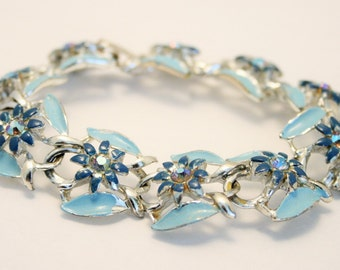 Vintage blue rhinestone bracelet. Blue enamel bracelet. Aurora borealis bracelet
