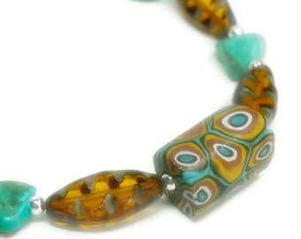 Turquoise Bracelet - Turquoise Jewelry - Turquoise Nuggets - Amber Picasso Glass with Genuine Turquoise Nuggets - Sterling Silver - Boho