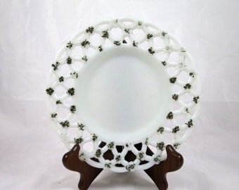 Vintage Milk Glass Plate Forget Me Not Reticulated Wall Cabinet EAPG Antique Glass Plate Westmoreland Glass Plate Antique Milk Glass Plate