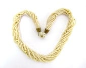 Vintage Necklace Cream Beige White Pearls Beads Germany Chic West Germany Design 1950 50s 1960 60s Midcentury