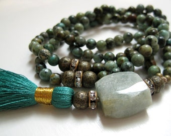 African Turquoise Tassel Necklace / Raw Aquamarine Gemstone / Teal Peacock Beaded Silk Pendant / Long Boho Silk Road Colors / Summer Trends