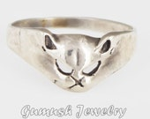 925 Sterling Silver Ring, Cat Ring, Gumush Jewelry, ANIMALS Ring, Feline Ring, Size 5, Friendship Gift